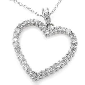 14K White Gold 1.45ct tw Diamond Heart Pendant