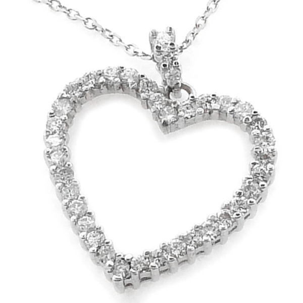 14K White Gold 1.45ct tw Diamond Heart Pendant
