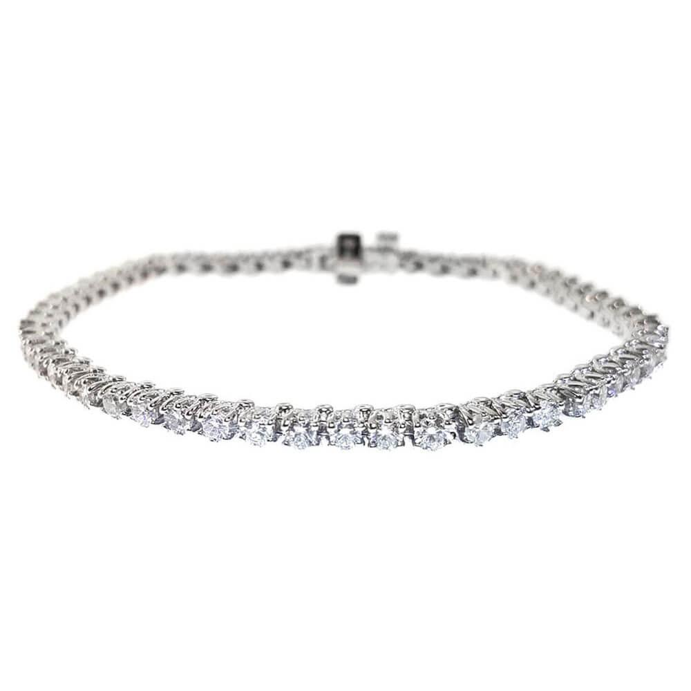 14kt White Gold 3.11ct Diamond Tennis Bracelet