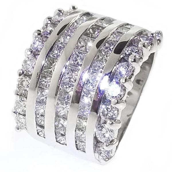 14K White Gold 3.13ct Diamond Wedding Band