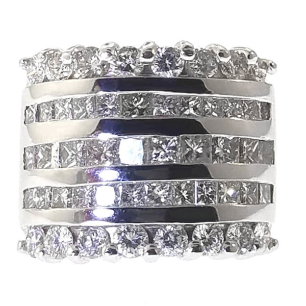 14K White Gold 3.13ct Diamond Wedding Band