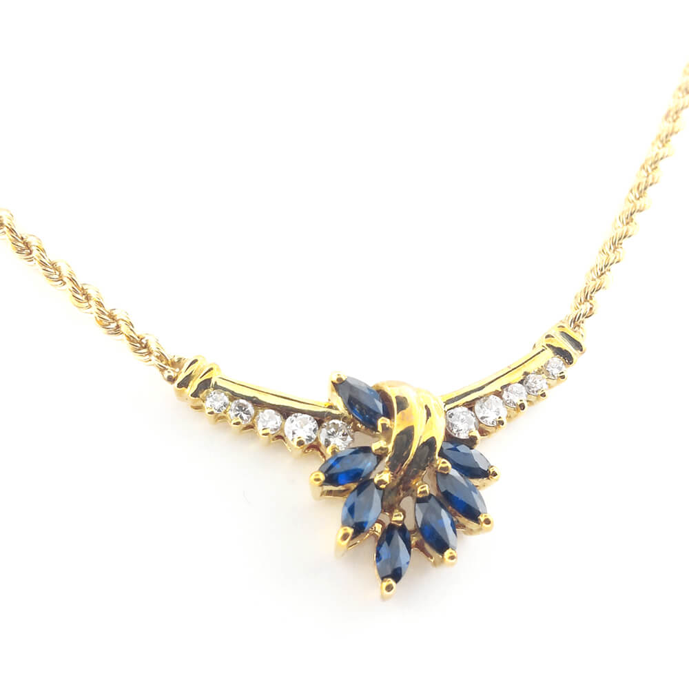 14K Yellow Gold 0.20ct Sapphire and Diamond Necklace