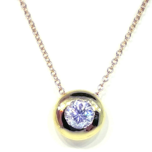 14K Yellow Gold Cubic Zirconia Diamond Necklace