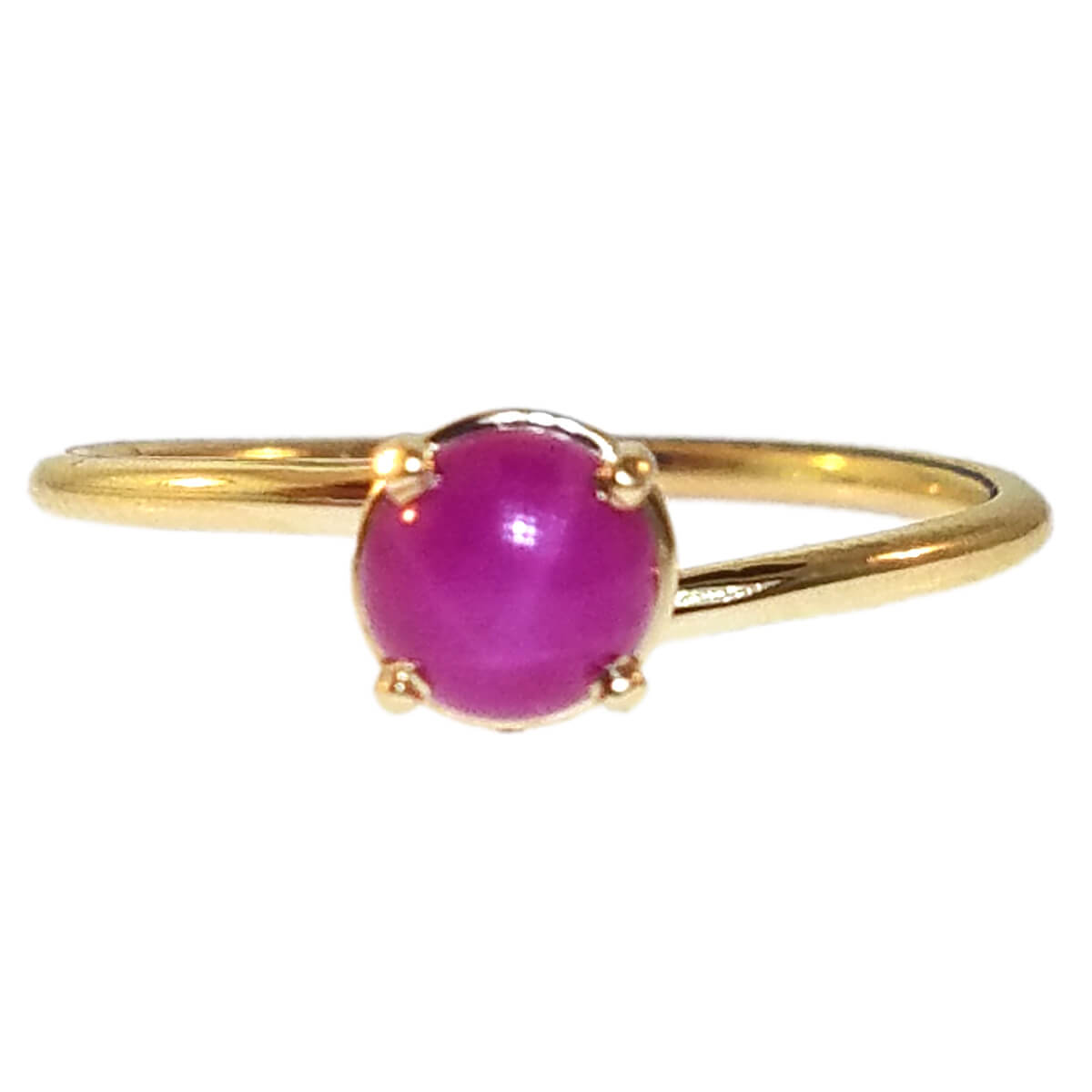 "14kt Yellow Gold ""Skinny"" Ring with Pink Star"