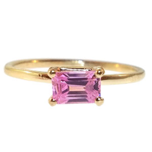 """14kt Yellow Gold """"Skinny"""" Ring with Pink Topaz"""