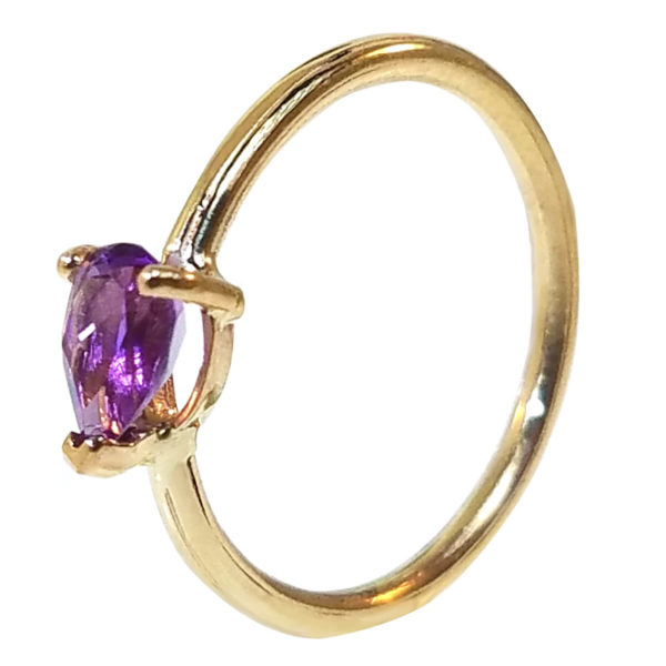 """14kt Yellow Gold """"Skinny"""" Ring with Amethyst"""