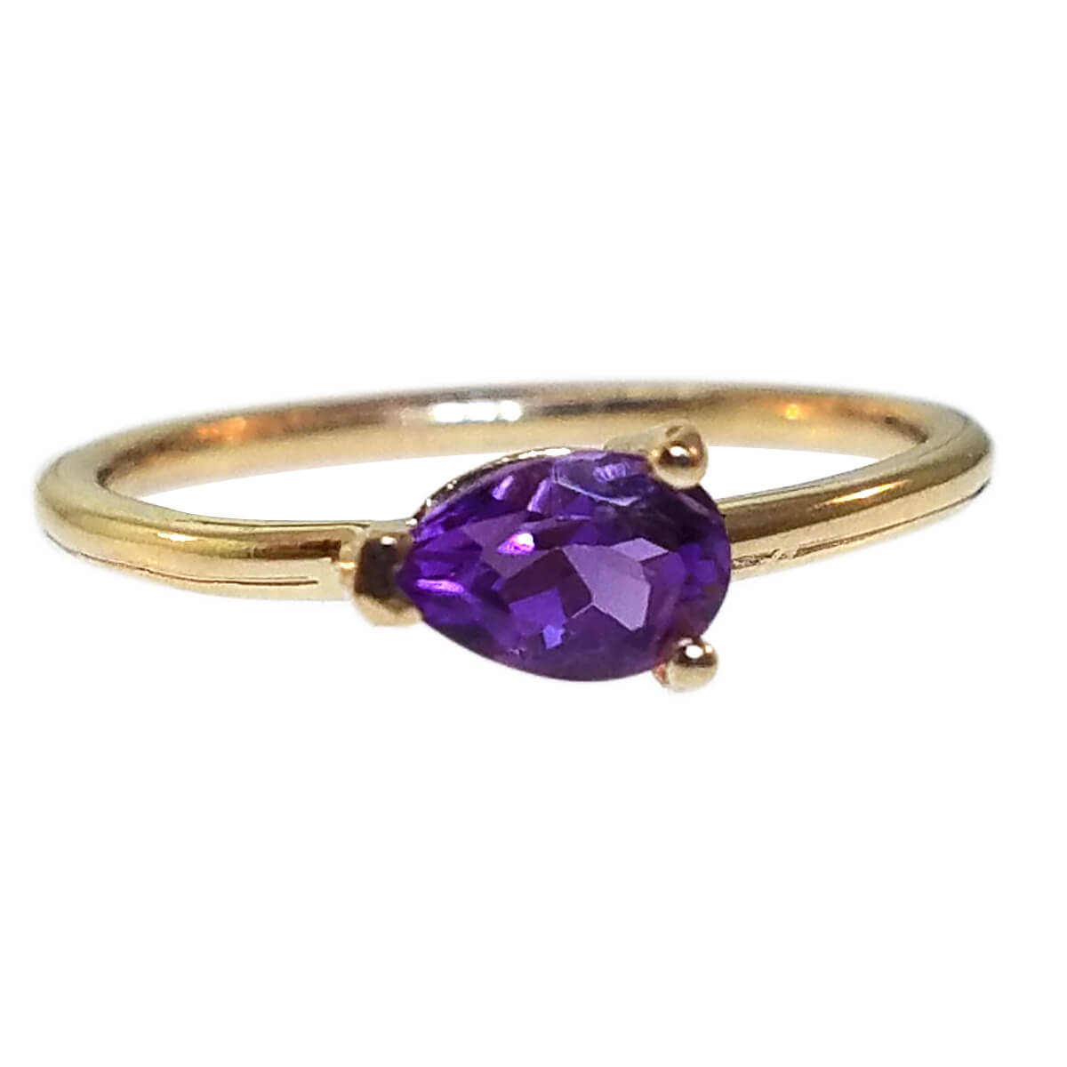 "14kt Yellow Gold ""Skinny"" Ring with Amethyst"