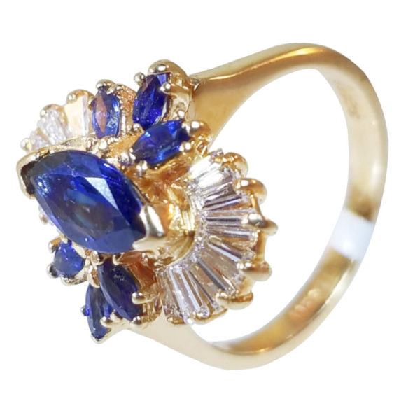 18K Yellow Gold 1.33ct Diamond and Sapphire Ring