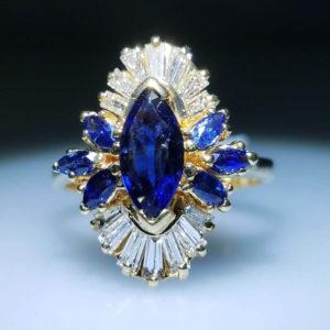 18K Yellow Gold 1.33ct Diamond and Sapphire Ring
