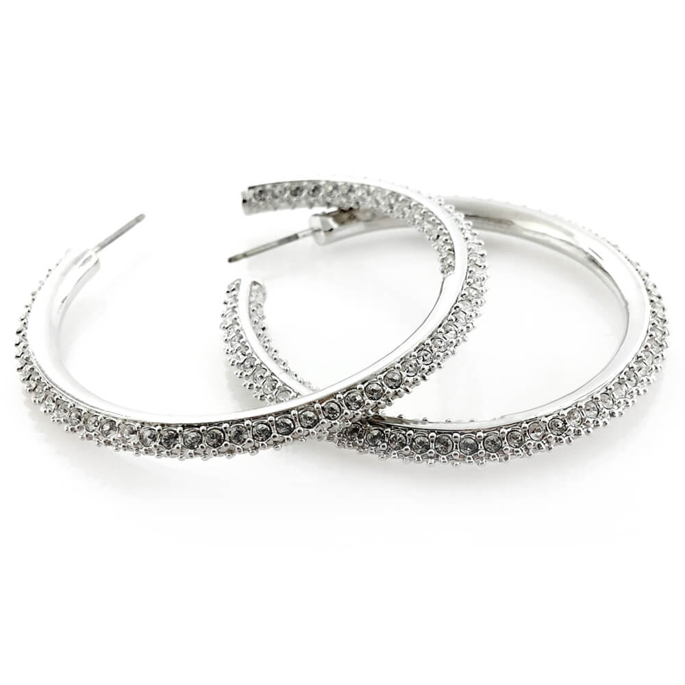 Silver Earrings with Crystal Elements