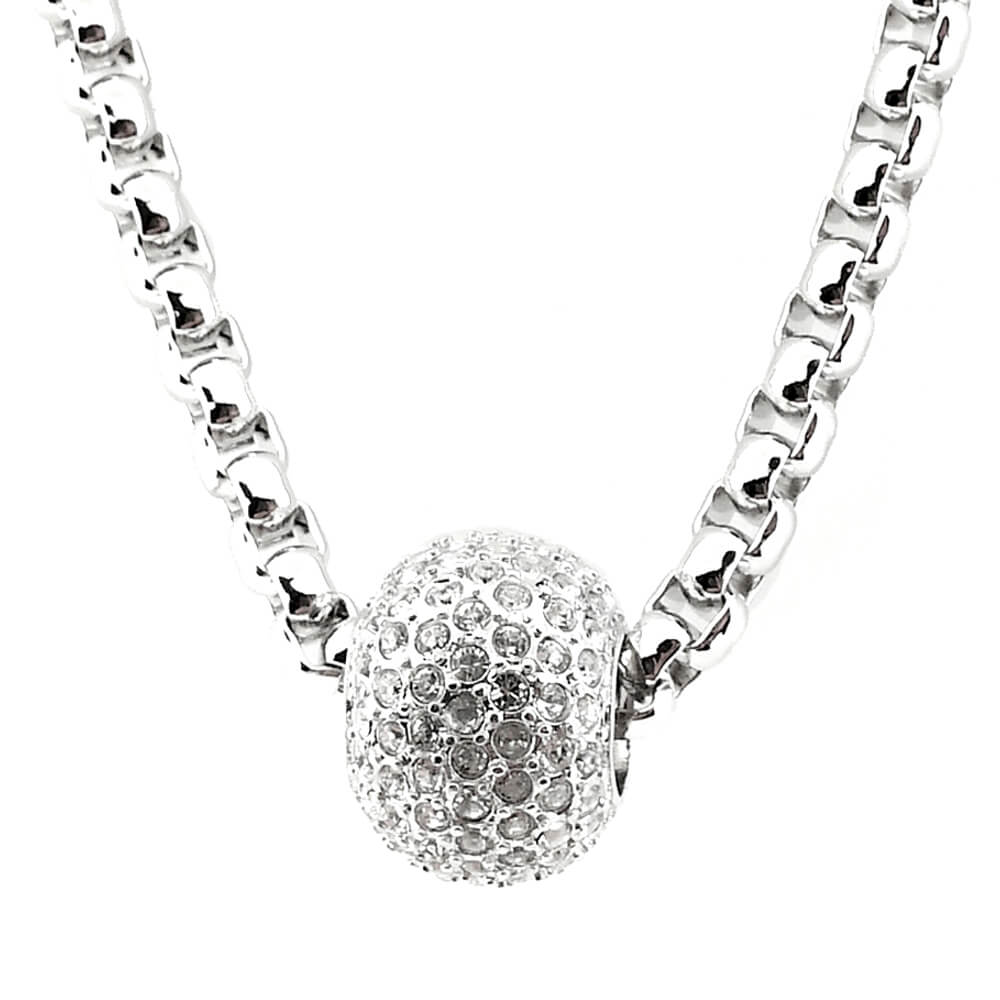 Silver Necklace with Crystal Elements