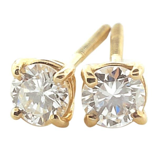14K Yellow Gold 0.55ct Diamond Stud Earrings