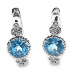 Sterling Silver Diamond and Topaz Earrings
