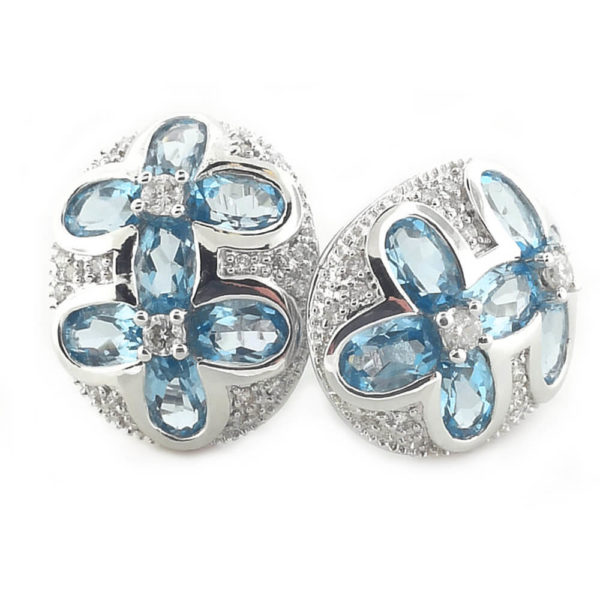14kt White Gold 0.30ct Diamond and Topaz Earrings