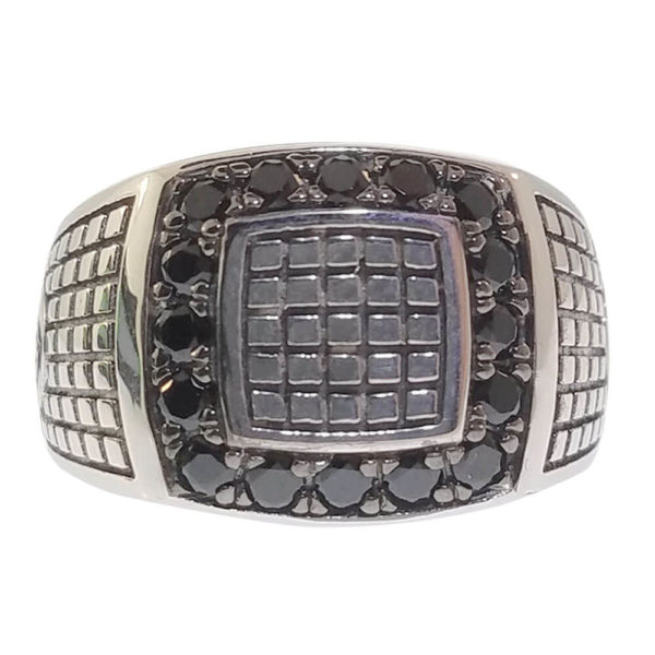 Gent's Sterling Silver & Black Cubic Zirconia Diamond Ring
