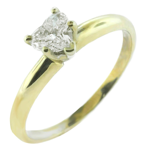 14K Yellow Gold 0.40ct Heart Cut Diamond Engagement Ring