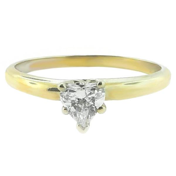 14K Yellow Gold 0.40ct Heart Cut Diamond Engagement Ring