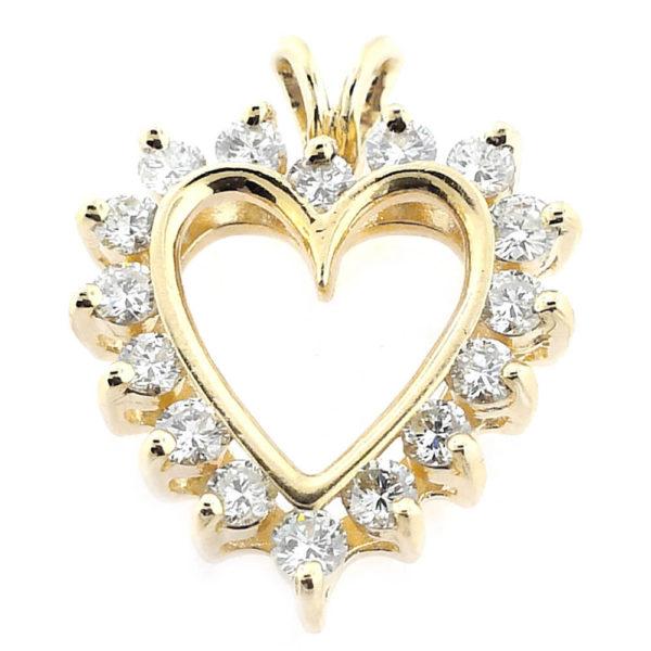 14K Yellow Gold 0.81ct Diamond Heart Pendant