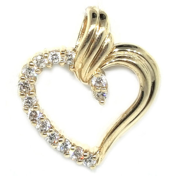 14K Yellow Gold CZ Diamond Heart Pendant