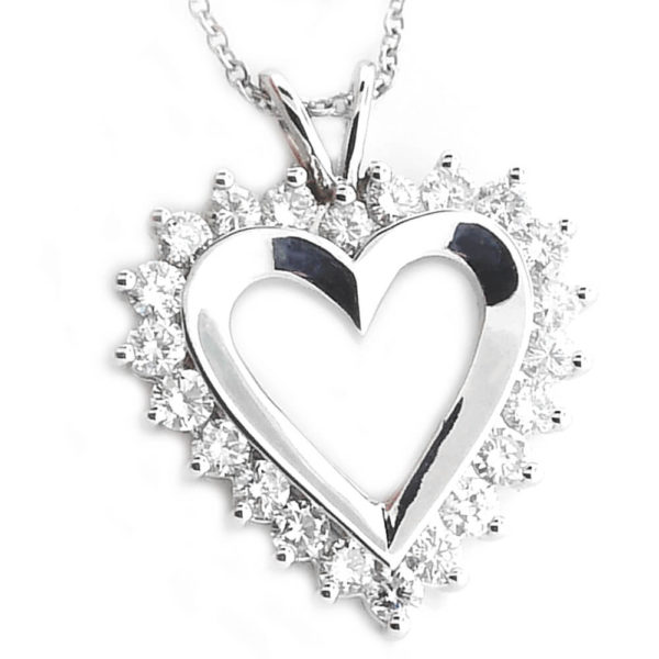 10K White Gold 1.50ct Diamond Heart Necklace