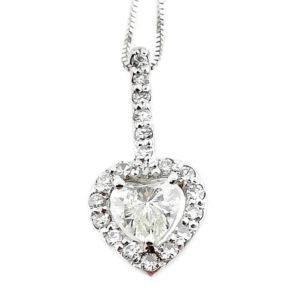 14K White Gold 0.66ct Diamond Heart Necklace