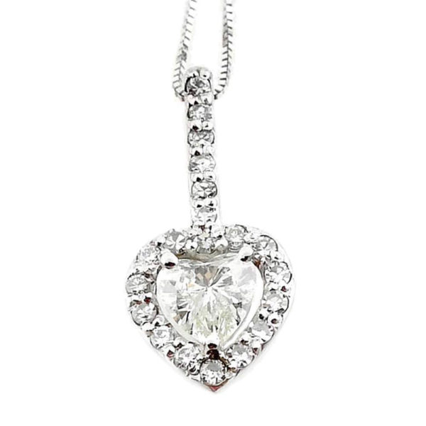 14K White Gold 0.66ct Diamond Heart Necklace