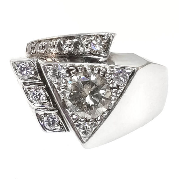 Gent's Platinum and Silver 1.30ct Diamond Ring