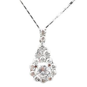 14K White Gold 0.95ct tw Diamond and Cubic Zirconia Pendant