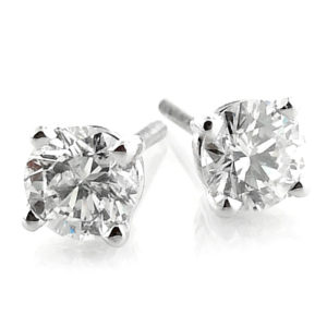 14K White Gold 0.98ct Diamond Stud Earrings