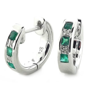 Sterling Silver Diamond and Emerald Earrings