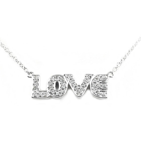 "10K White Gold Diamond ""Love"" Necklace"