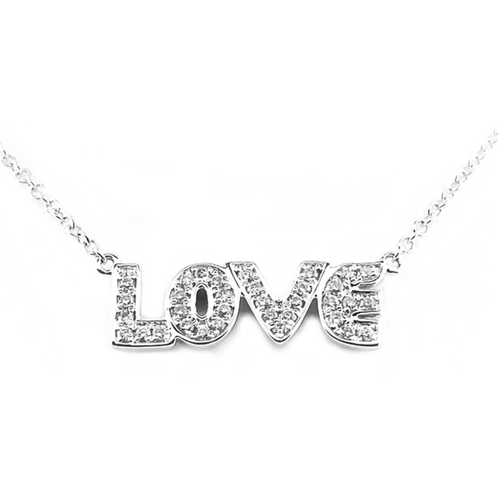 "10K White Gold Diamond ""Love"" Necklace"