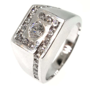 Gent's 14K White Gold 1.16ct Diamond Ring