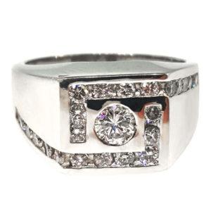 Gent's 14K White Gold 1.16ct Diamond Ring