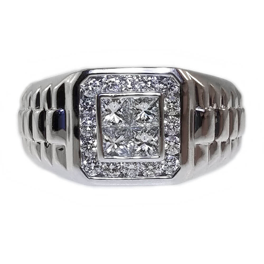 Gent's 14K White Gold 1.20ct Diamond Ring