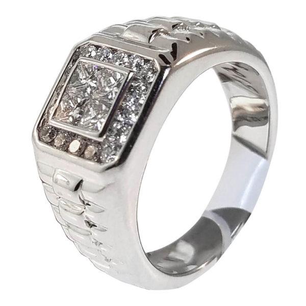 Gent's 14K White Gold 1.20ct Diamond Ring