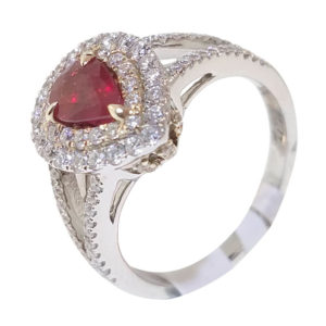 14K White Gold 1.40ct Diamond and Ruby Ring