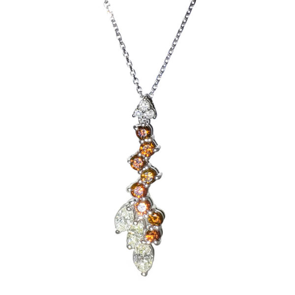 14K White Gold, White and Cognac Diamond Necklace