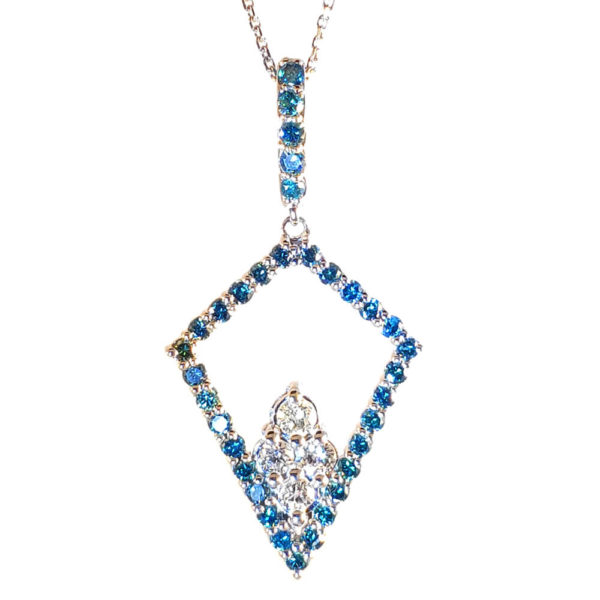 14KWhite Gold Blue and White Diamond necklace