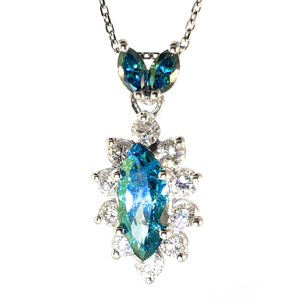 14k Blue and White Diamond Necklace
