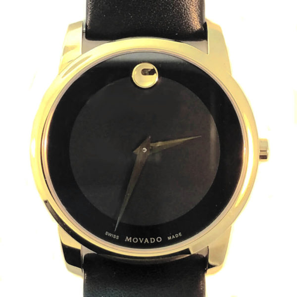 Movado Roundaro Watch - Black with Leather Band