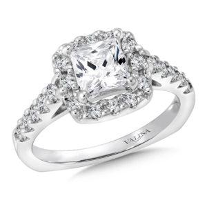 14K White Gold 0.50ct Diamond Engagement Ring 1.00ct Princess center