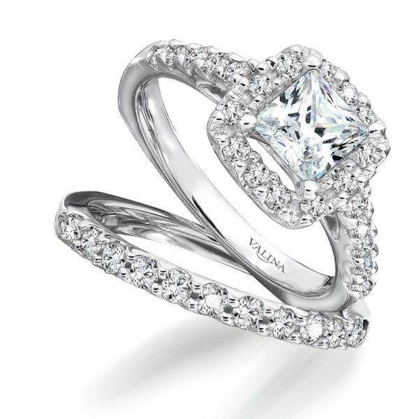 14K White Gold 0.83ct Diamond Bridal Set 1.00ct Princess center