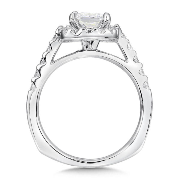 14K White Gold 0.50ct Diamond Engagement Ring 1.00ct Princess center
