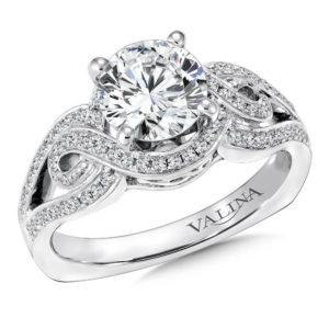 14K White Gold 0.29ct Diamond Engagement Ring 1.25ct center