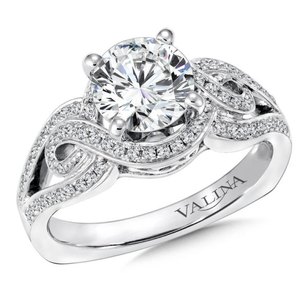 14K White Gold 0.29ct Diamond Engagement Ring 1.25ct center