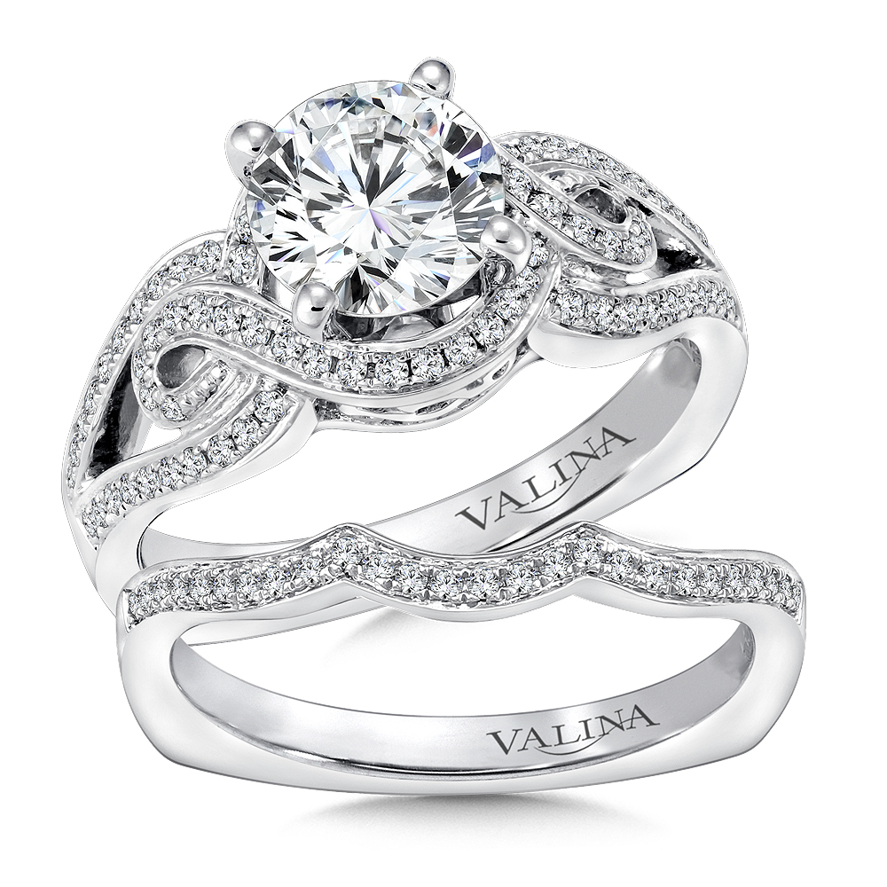 14K White Gold 0.30ct Diamond Bridal Set 1.25ct center