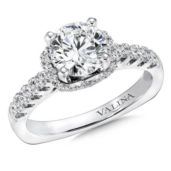14K White Gold 0.47ct Diamond Engagement Ring 1.25ct center
