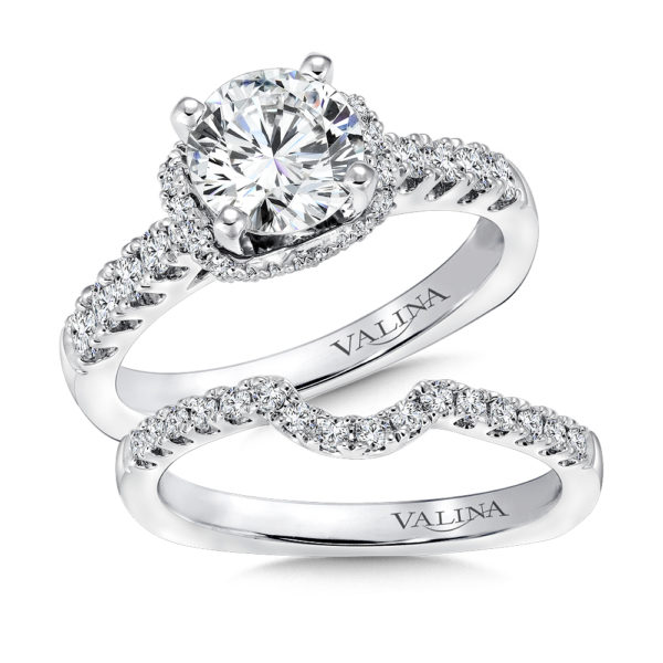 14K White Gold 0.64ct Diamond Bridal Set 1.25ct center