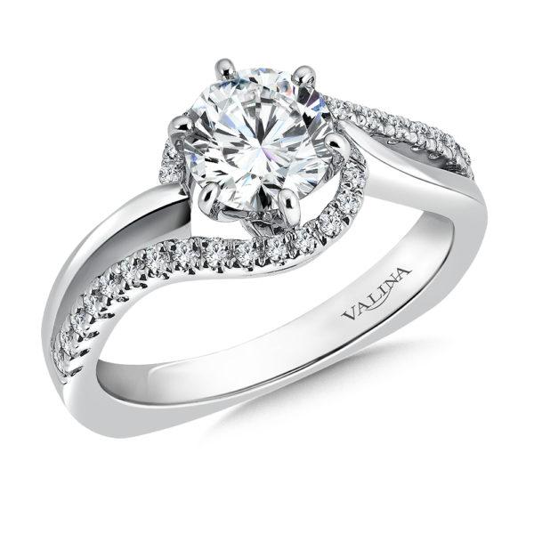 14K White Gold 0.27ct Diamond Engagement Ring 1.00ct center